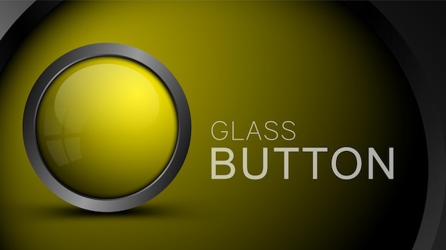 Glossy blank yellow button for musical or video player interface design.  glass button for web design.