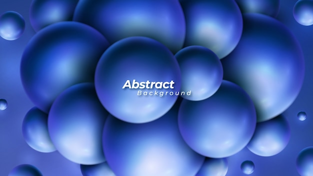 Glossy blue bubbles vector background