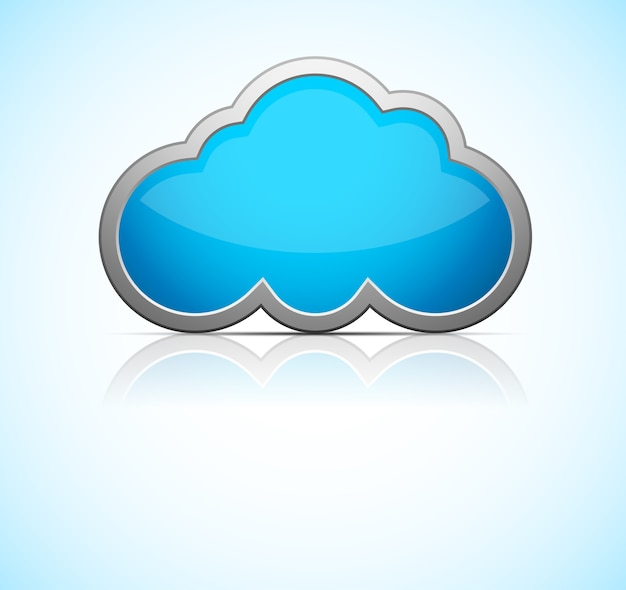 Glossy blue cloud icon with reflection. illustration