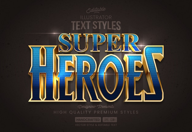 Glossy blue & gold text style
