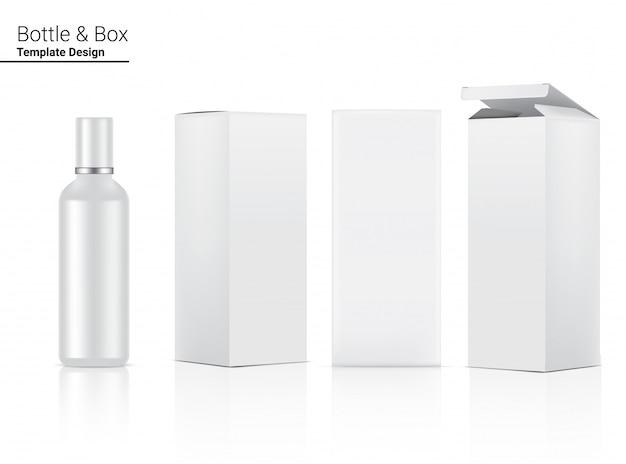 Glossy bottle blank реалистичная косметическая и 3d коробка для ухода за кожей и против старения.