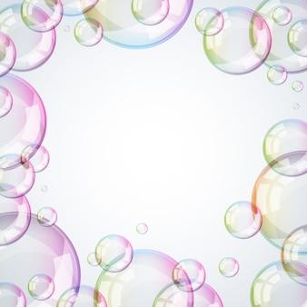 光沢のある泡フレーム。明るい背景。