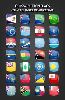 Glossy button flags - countries and islands in oceania.