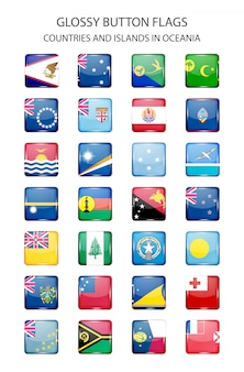 Glossy button flags  oceania. original colors.