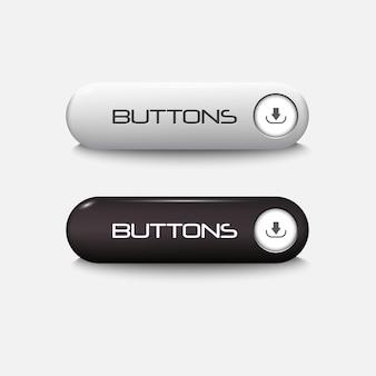 黒と白のwebの光沢のあるボタン