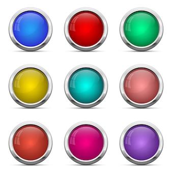 光沢のあるボタンは、白い背景の上の図を設定