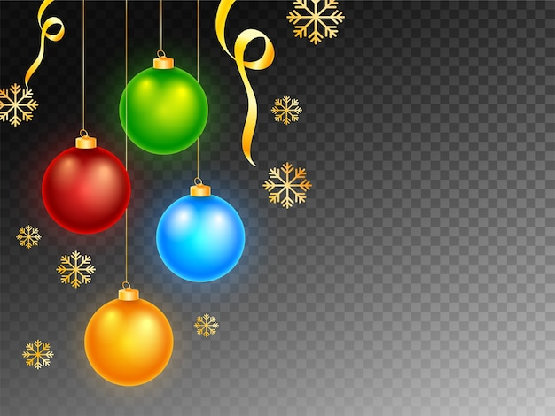 Glossy christmas balls hang with golden snowflakes and ribbon on black png background.