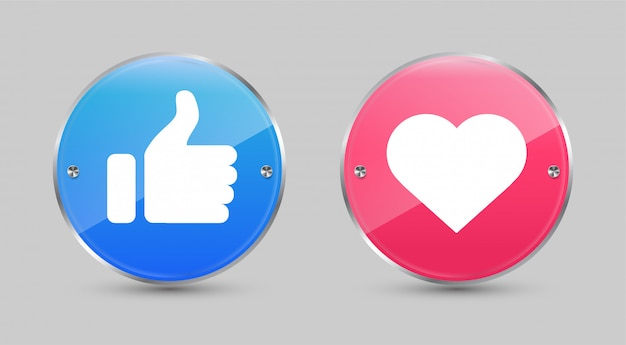 Glossy circle like and love icons.