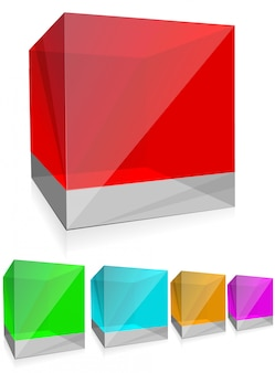 Glossy colored glass cubes