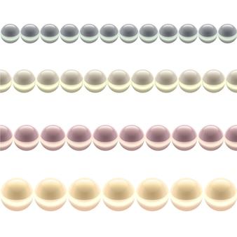 광택 컬러 진주 라인 흰색 배경에 고립.