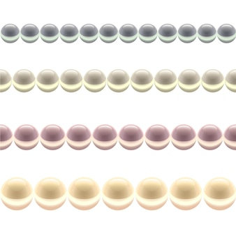 Glossy colored pearl line isolated on a white background.