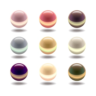 Glossy colored pearl set isolated on a white background.  illustration