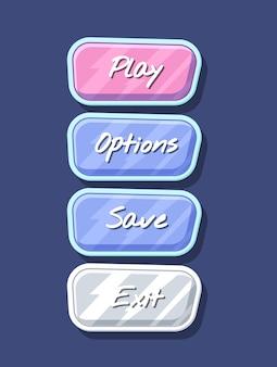 Glossy colorful computer game menu interface set