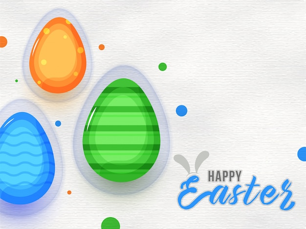 Glossy colorful egg on paper texture background for happy easter