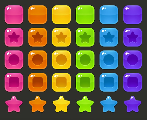Glossy colorful squares and stars set