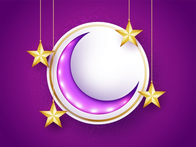 Glossy crescent moon with hanging golden stars for muslim community festivals celebration, can be used as sticker, tag or label design