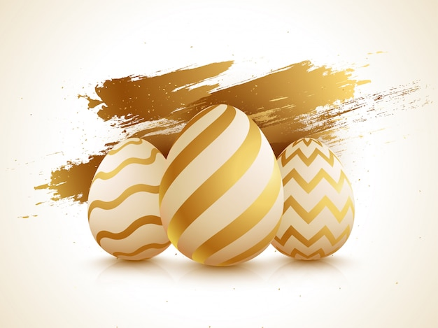 Glossy easter eggs on golden brush stroke background