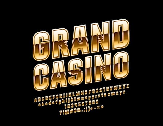 Глянцевая эмблема гранд казино. роскошные золотые повернутые буквы алфавита, цифры и символы.