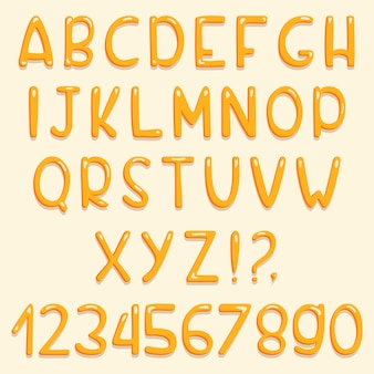 Glossy font design. yellow abc letters and numbers.