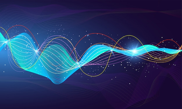 Glossy futuristic sound wave with lighting effect for futuristic
