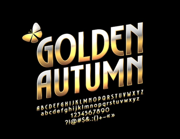 Glossy golden autumn with butterfly metallic gradient font rotated exclusive alphabet letters numbers and symbols