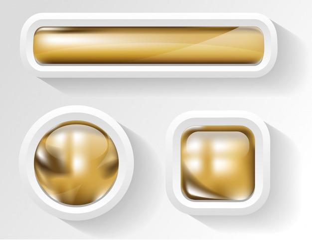 白いフレームの光沢のある黄金のボタン