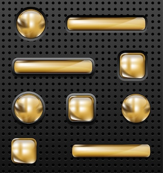 Glossy golden buttons set on perforated background