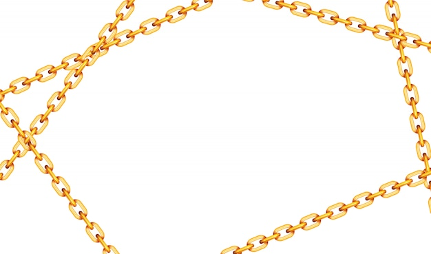 Glossy golden metal crossed chains on white
