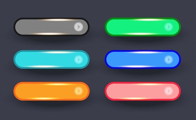 Glossy golden of  set rounded web wide buttons