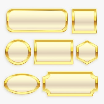 Глянцевая золотая винтажная рамка или коллекция этикеток