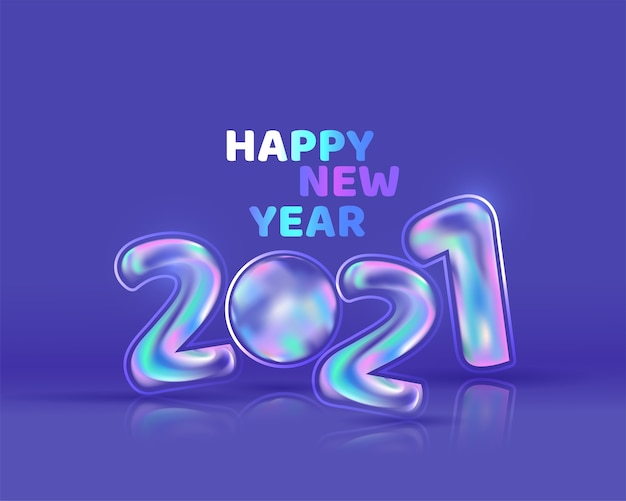Glossy gradient balloon number on blue background for happy new year.