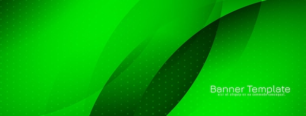 Glossy green color modern wave style banner