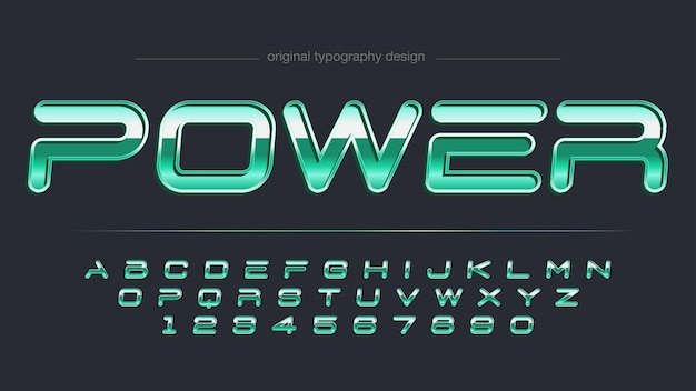 Glossy green metallic sports typography
