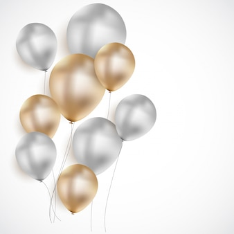 Glossy happy birthday balloons background