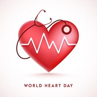 世界心臓デーの白い背景の上の聴診器による光沢のあるハートビート診断。