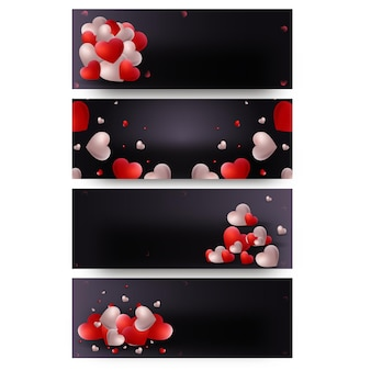 Glossy hearts decorated on black background in four options. header or banner design.