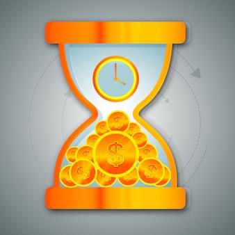 Clessidra lucida con orologio e monete da dollaro per business, time is money concept.
