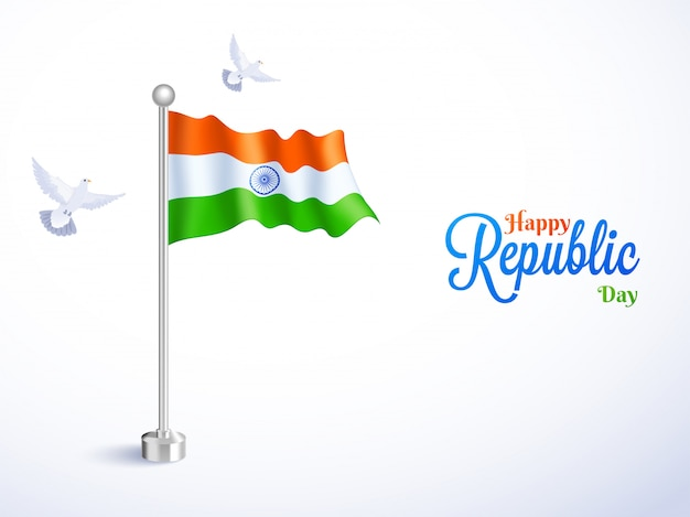 Glossy indian flag with flying pigeons illustration