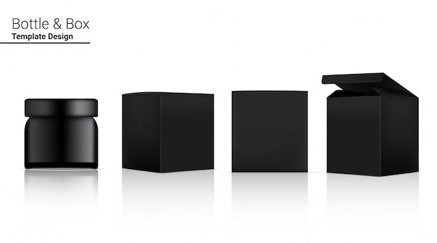 Glossy jar bottle реалистичная косметика и 3-мерная коробка для отбеливания кожи и старения товаров против морщин. здравоохранение и медицинская концепция дизайна.
