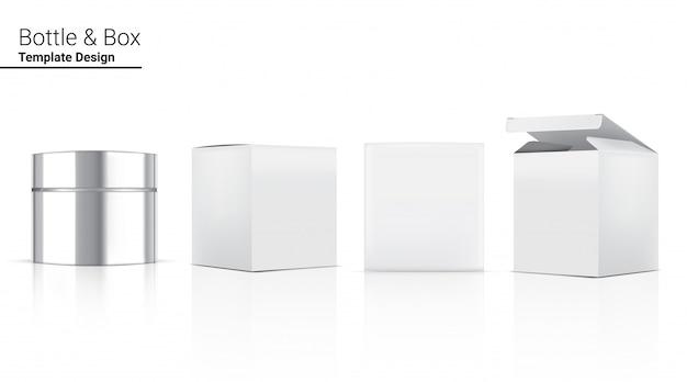 미백 스킨 케어 및 노화 방지 주름 상품을위한 광택있는 병 병 현실적인 화장품 및 3 차원 상자