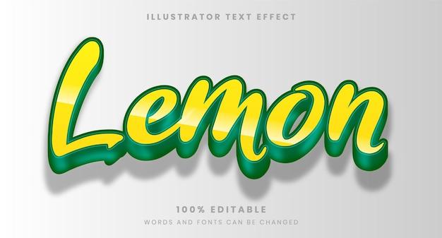 광택있는 레몬 편집 가능한 텍스트 효과