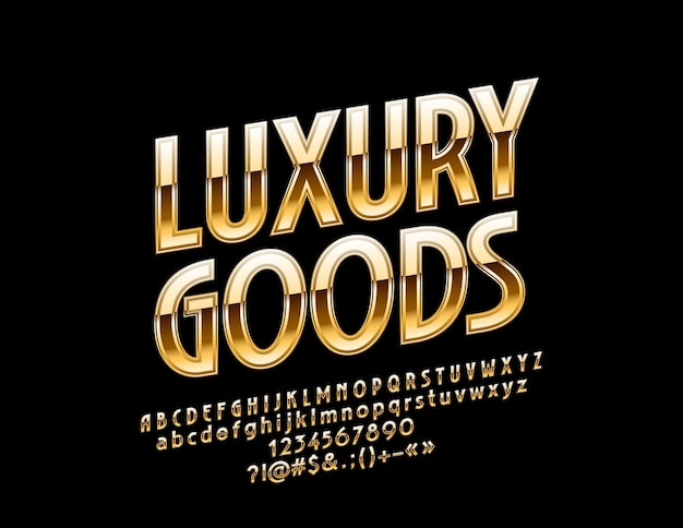 Glossy   luxury goods. metallic gradient font. chic golden rotated alphabet letters, numbers and symbols