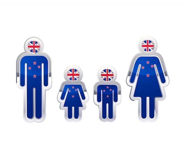 男、女、子供の形、ニュージーランドの旗、白のインフォグラフィック要素の光沢のある金属バッジアイコン