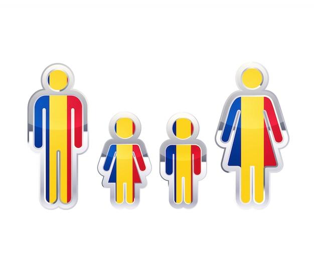 ルーマニアの旗、白のインフォグラフィック要素を持つ男、女、子供の形で光沢のある金属バッジアイコン
