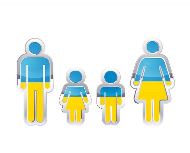 Значок глянцевый металлический значок в мужском, женском и детском фигур с флагом украины, инфографики элемент на белом