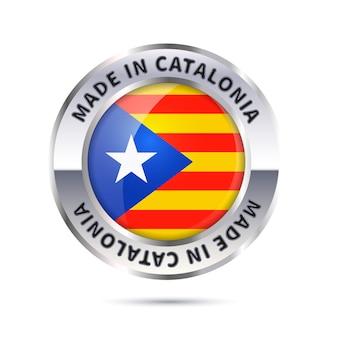 光沢のある金属バッジアイコン、フラグでカタルーニャで作られました