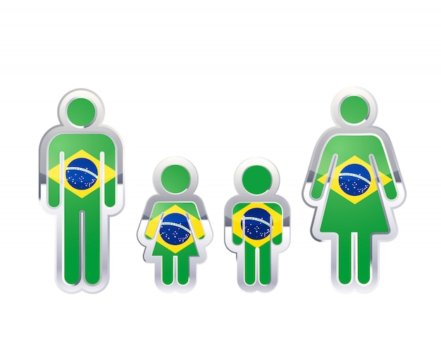 Glossy metal badge icon in man, woman and childrens shapes with brazil flag, infographic element on white