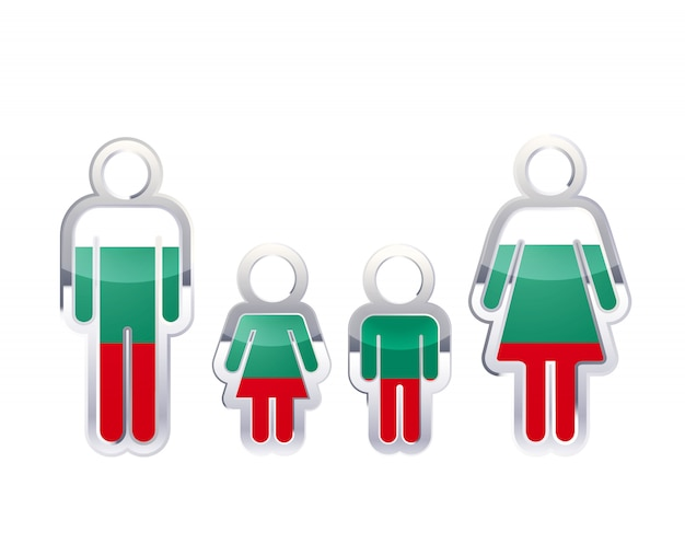 Glossy metal badge icon in man, woman and childrens shapes with bulgaria flag, infographic element on white