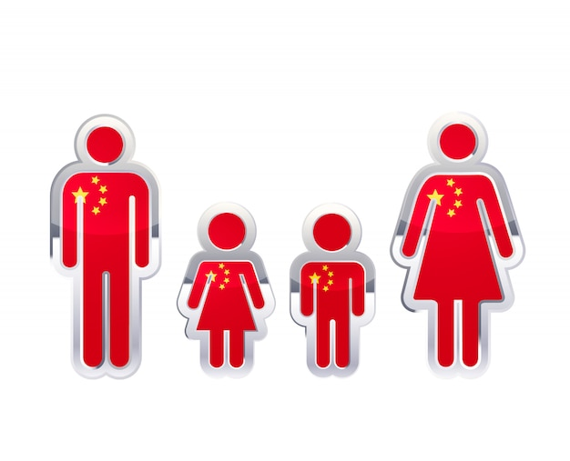 Glossy metal badge icon in man, woman and childrens shapes with china flag, infographic element on white