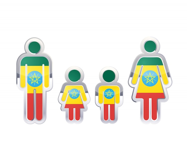 Glossy metal badge icon in man, woman and childrens shapes with ethiopia flag, infographic element on white